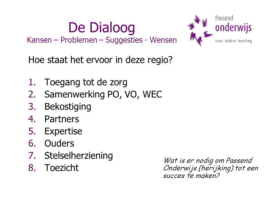 De Dialoog Kansen – Problemen – Suggesties - Wensen Hoe staat het ervoor in deze regio? 1.Toegang tot de zorg 2.Samenwerking PO, VO, WEC 3.Bekostiging