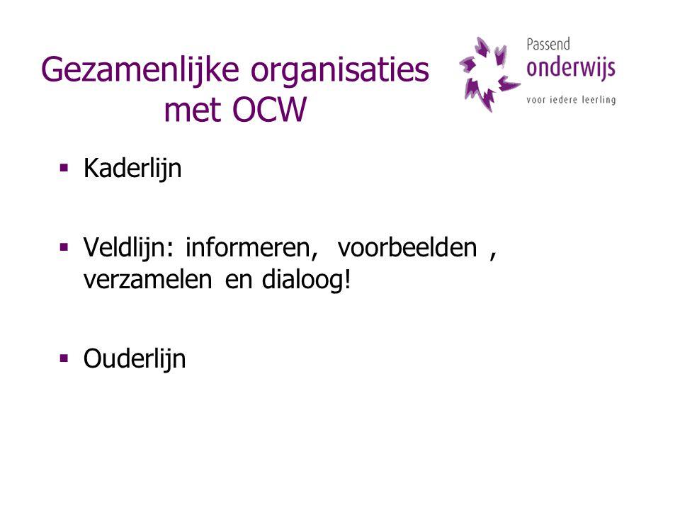 Gezamenlijke organisaties met OCW  Kaderlijn  Veldlijn: informeren, voorbeelden, verzamelen en dialoog!  Ouderlijn