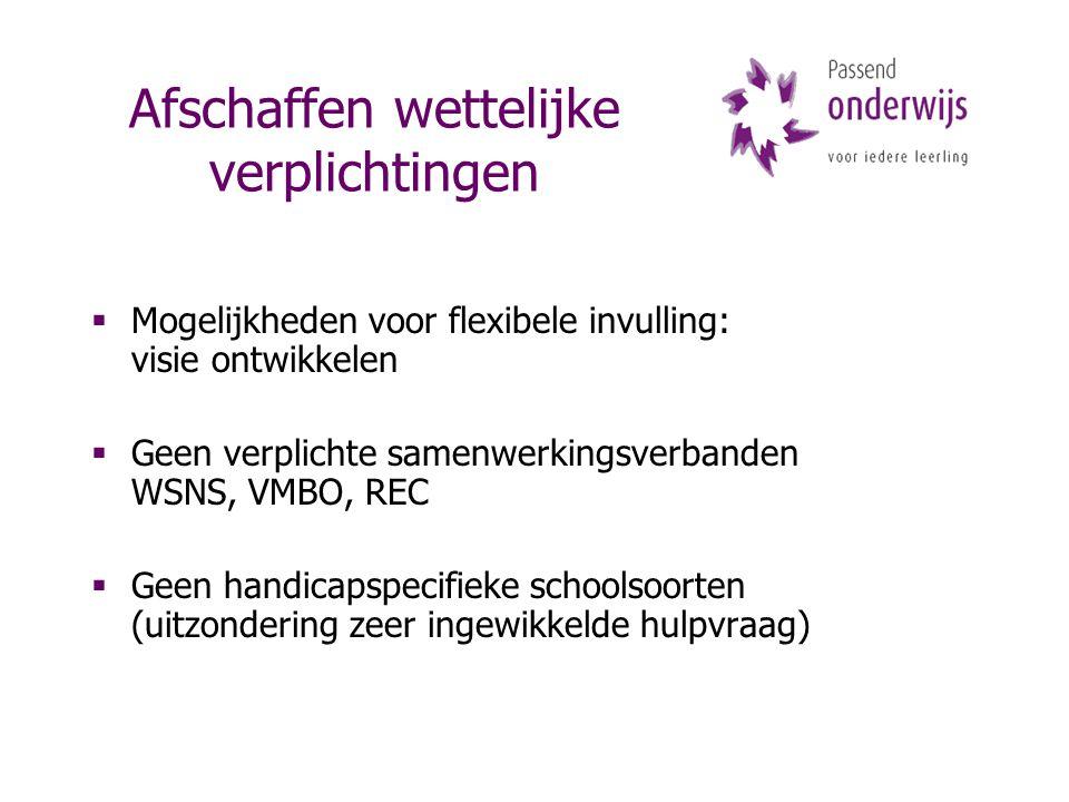 Afschaffen wettelijke verplichtingen  Mogelijkheden voor flexibele invulling: visie ontwikkelen  Geen verplichte samenwerkingsverbanden WSNS, VMBO, REC  Geen handicapspecifieke schoolsoorten (uitzondering zeer ingewikkelde hulpvraag)