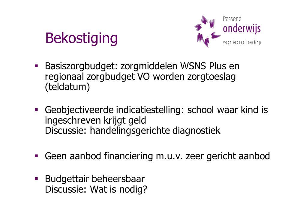 Bekostiging  Basiszorgbudget: zorgmiddelen WSNS Plus en regionaal zorgbudget VO worden zorgtoeslag (teldatum)  Geobjectiveerde indicatiestelling: sc