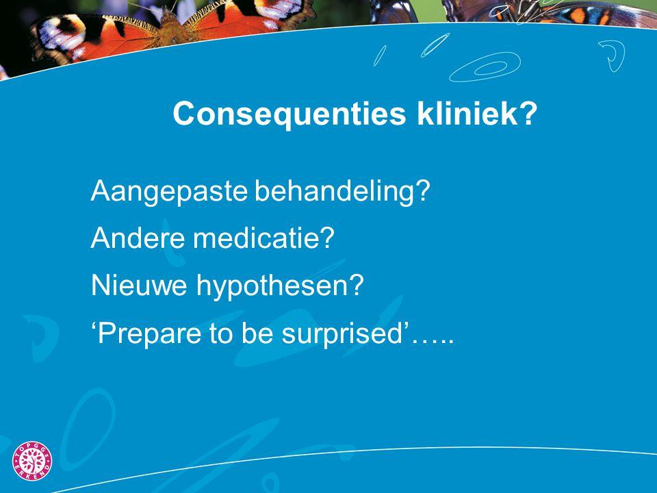 Consequenties kliniek? Aangepaste behandeling? Andere medicatie? Nieuwe hypothesen? 'Prepare to be surprised'…..