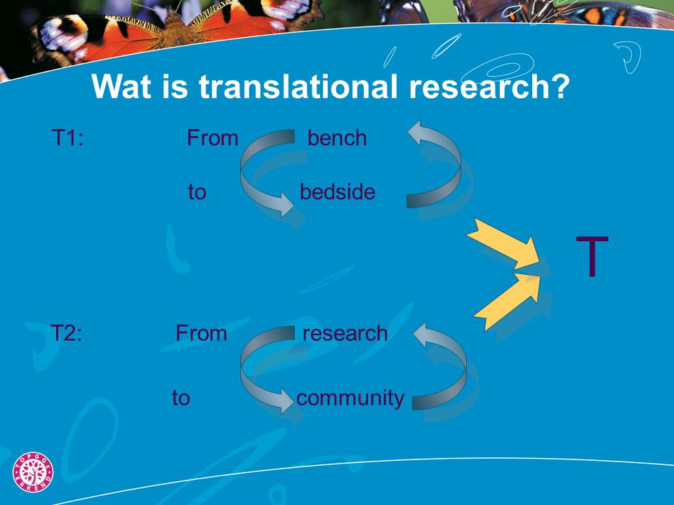 Wat is translational research? T2:From research to community T1: From bench to bedside T