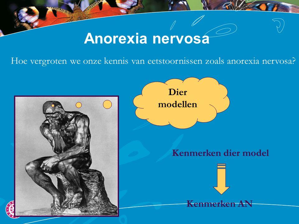 Anorexia nervosa Hoe vergroten we onze kennis van eetstoornissen zoals anorexia nervosa? Dier modellen Kenmerken AN Kenmerken dier model