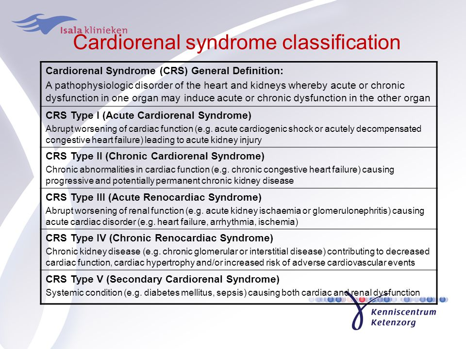 Cardiorenal syndrome classification Cardiorenal Syndrome (CRS) General Definition: A pathophysiologic disorder of the heart and kidneys whereby acute