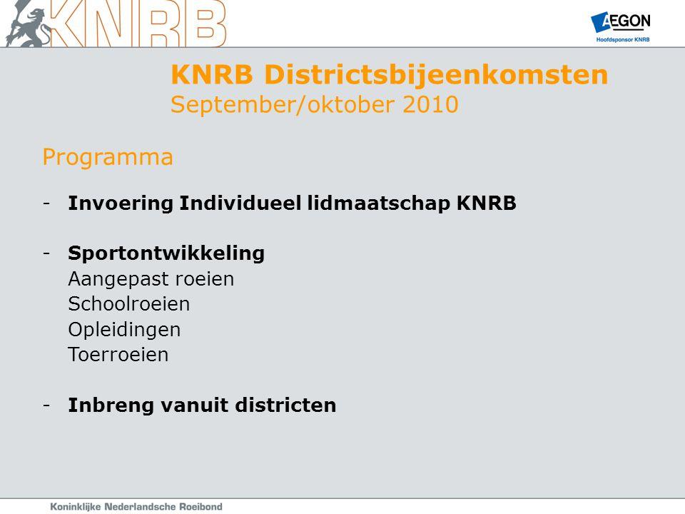 Programma -Invoering Individueel lidmaatschap KNRB -Sportontwikkeling Aangepast roeien Schoolroeien Opleidingen Toerroeien -Inbreng vanuit districten KNRB Districtsbijeenkomsten September/oktober 2010