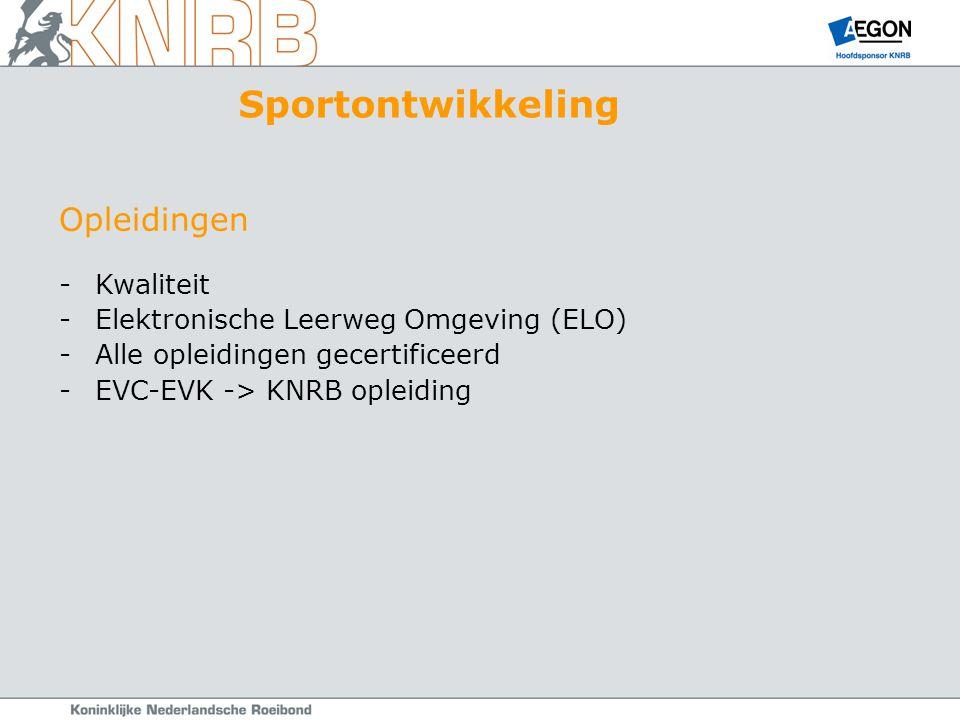 Opleidingen -Kwaliteit -Elektronische Leerweg Omgeving (ELO) -Alle opleidingen gecertificeerd -EVC-EVK -> KNRB opleiding Sportontwikkeling