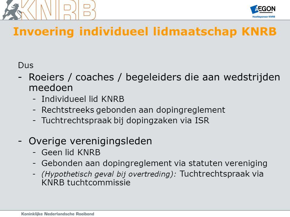 Dus -Roeiers / coaches / begeleiders die aan wedstrijden meedoen -Individueel lid KNRB -Rechtstreeks gebonden aan dopingreglement -Tuchtrechtspraak bij dopingzaken via ISR -Overige verenigingsleden -Geen lid KNRB -Gebonden aan dopingreglement via statuten vereniging -(Hypothetisch geval bij overtreding): Tuchtrechtspraak via KNRB tuchtcommissie Invoering individueel lidmaatschap KNRB