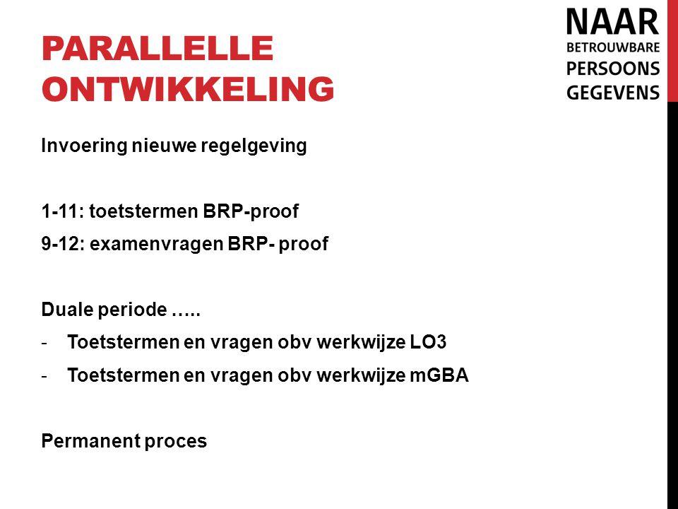 PARALLELLE ONTWIKKELING Invoering nieuwe regelgeving 1-11: toetstermen BRP-proof 9-12: examenvragen BRP- proof Duale periode ….. -Toetstermen en vrage