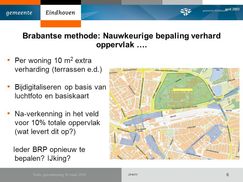 Utrecht april 2003 Turtle gebruikersdag 18 maart 2010 6 Brabantse methode: Nauwkeurige bepaling verhard oppervlak ….