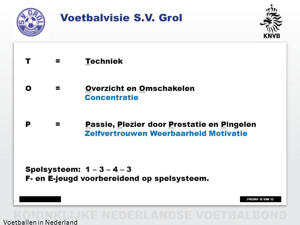 PAGINA 16 VAN 12 Voetballen in Nederland T=Techniek O=Overzicht en Omschakelen Concentratie P=Passie, Plezier door Prestatie en Pingelen Zelfvertrouwe