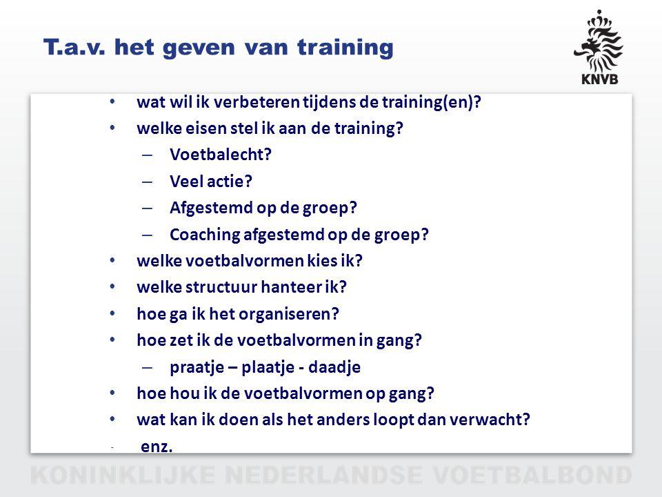 PAGINA 19 VAN 12 T.a.v. het geven van training wat wil ik verbeteren tijdens de training(en)? welke eisen stel ik aan de training? – Voetbalecht? – Ve