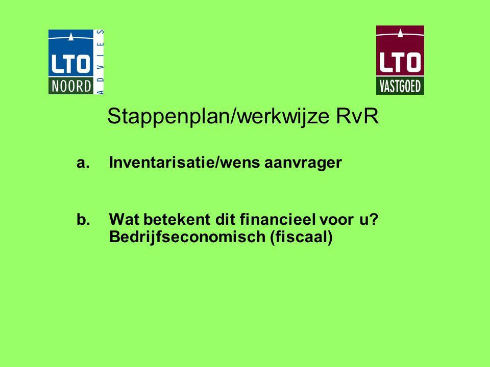 Stappenplan/werkwijze RvR a.Inventarisatie/wens aanvrager b.Wat betekent dit financieel voor u? Bedrijfseconomisch (fiscaal)