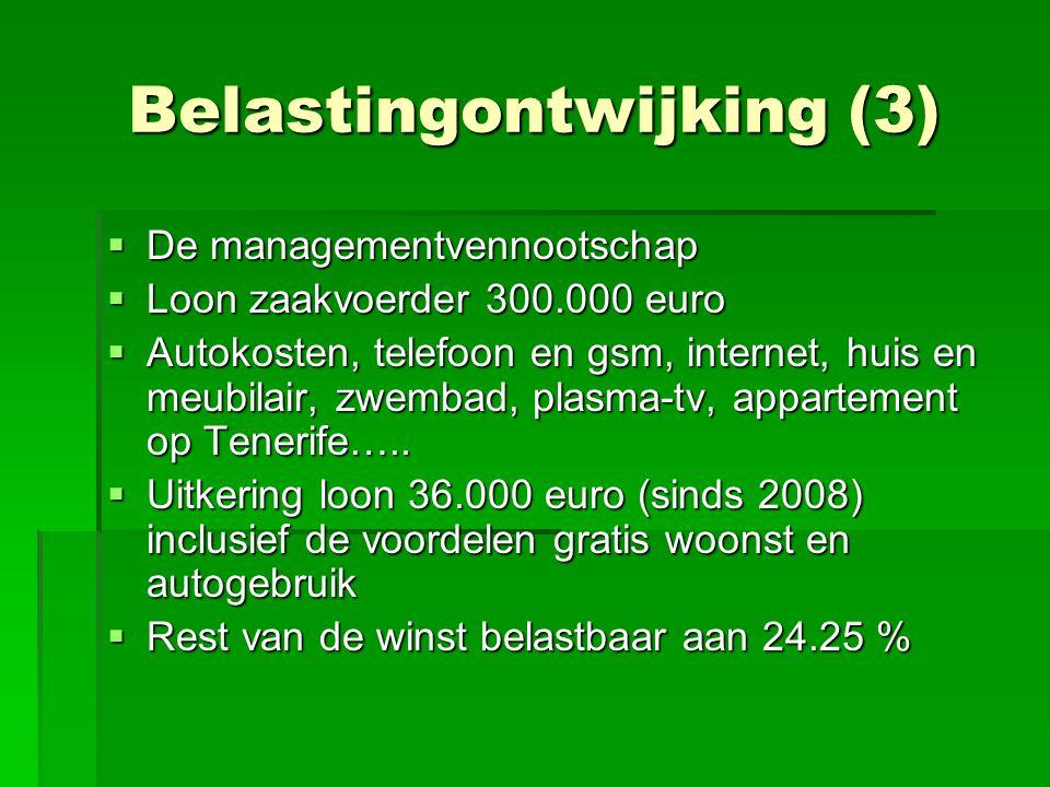 Belastingontwijking (3)  De managementvennootschap  Loon zaakvoerder 300.000 euro  Autokosten, telefoon en gsm, internet, huis en meubilair, zwemba