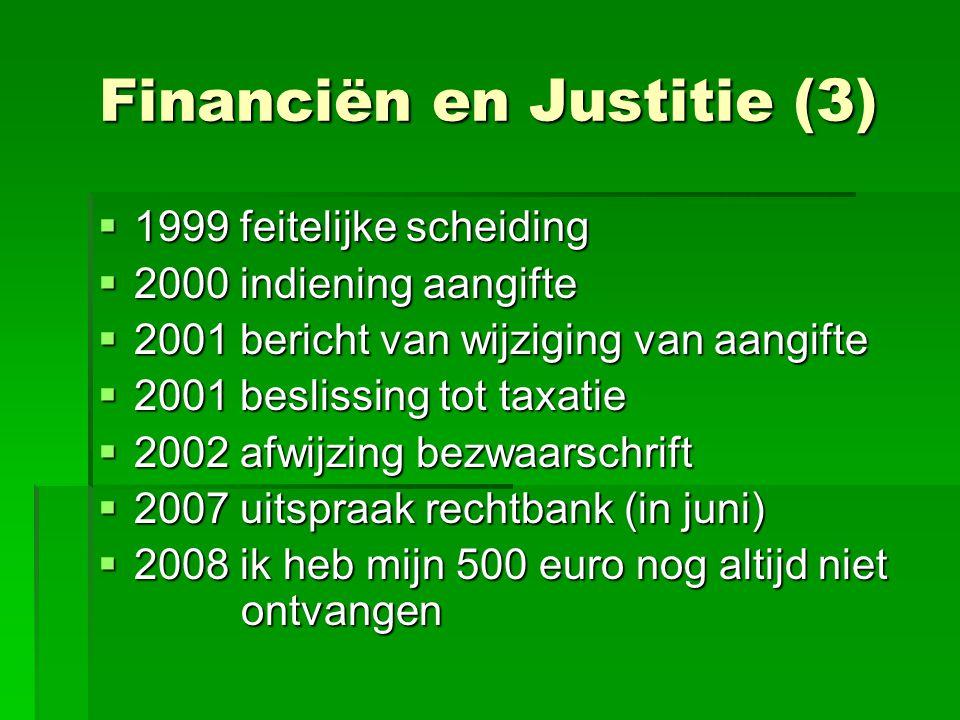 Financiën en Justitie (3)  1999 feitelijke scheiding  2000 indiening aangifte  2001 bericht van wijziging van aangifte  2001 beslissing tot taxati
