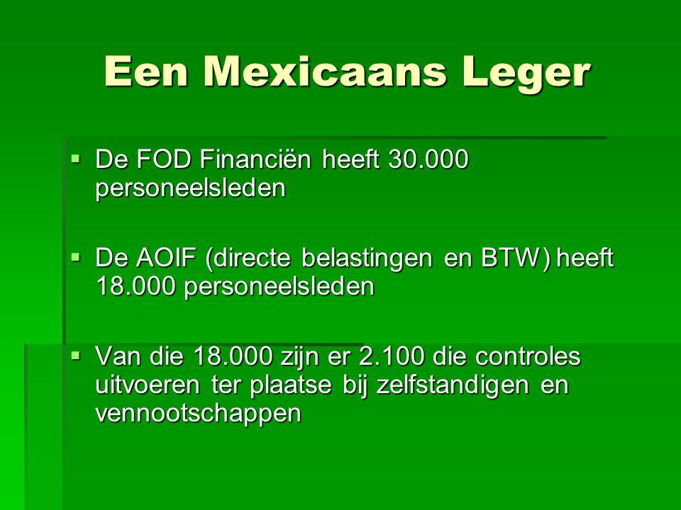 Een Mexicaans Leger  De FOD Financiën heeft 30.000 personeelsleden  De AOIF (directe belastingen en BTW) heeft 18.000 personeelsleden  Van die 18.0