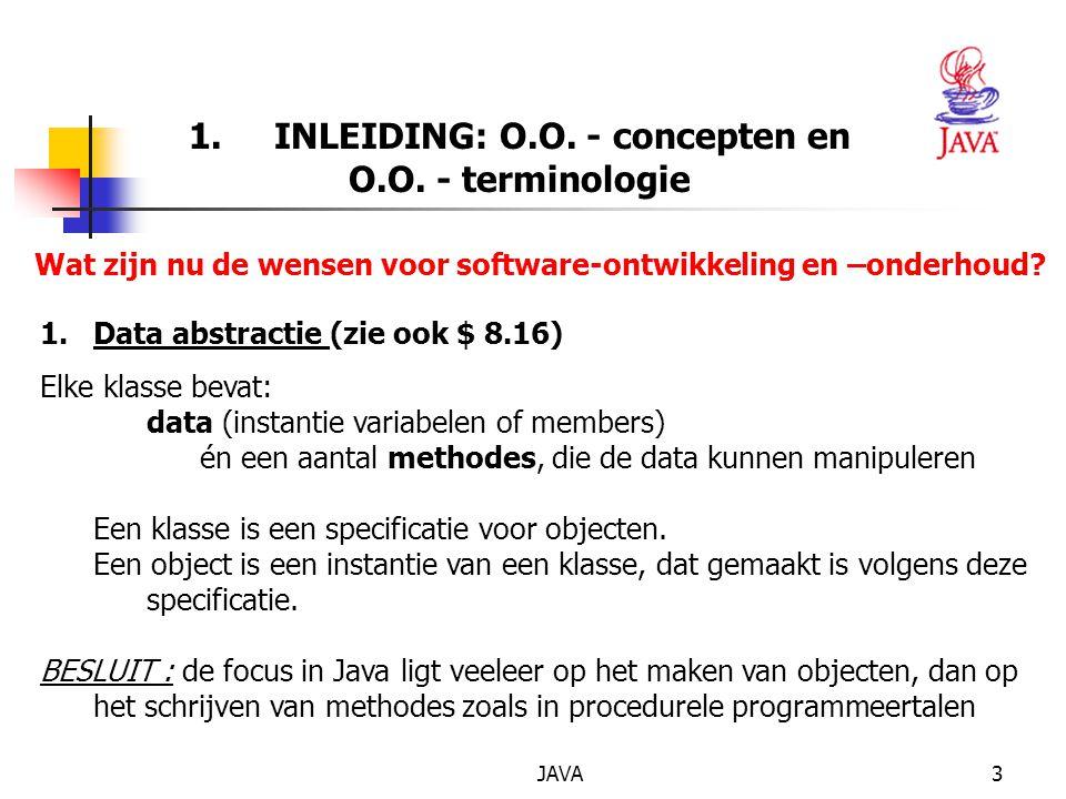 JAVA4 1.INLEIDING: O.O. - concepten en O.O.