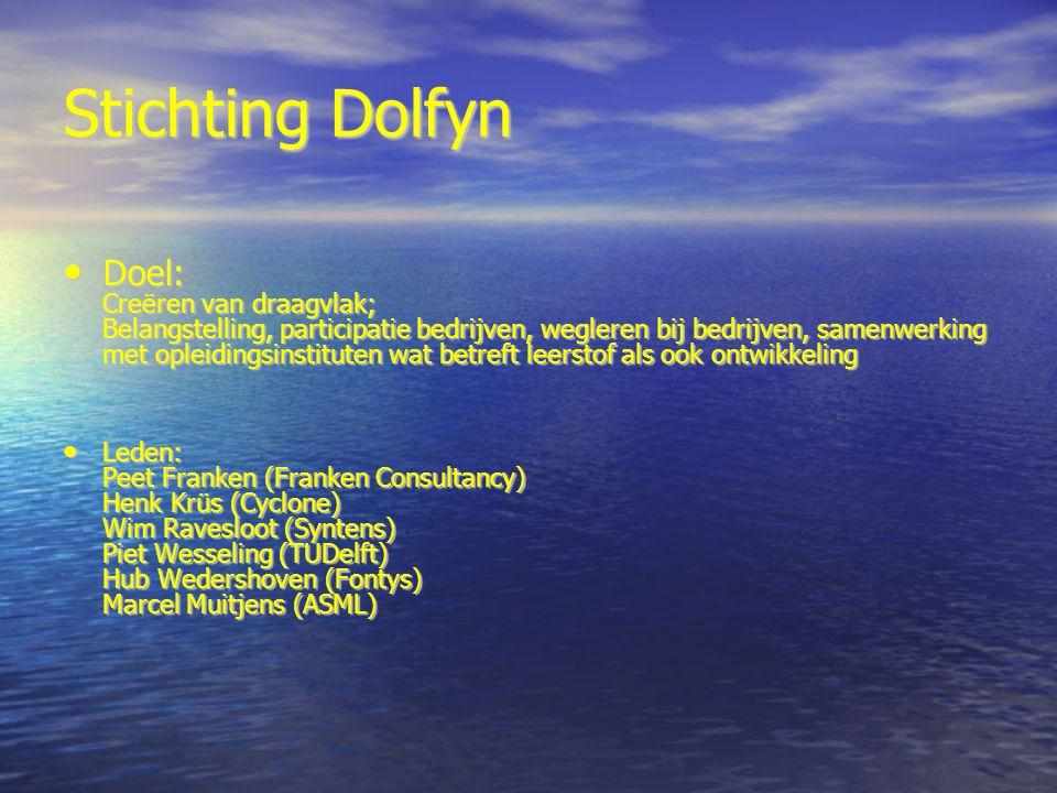 Stichting Dolfyn Doel: Creëren van draagvlak; Belangstelling, participatie bedrijven, wegleren bij bedrijven, samenwerking met opleidingsinstituten wa
