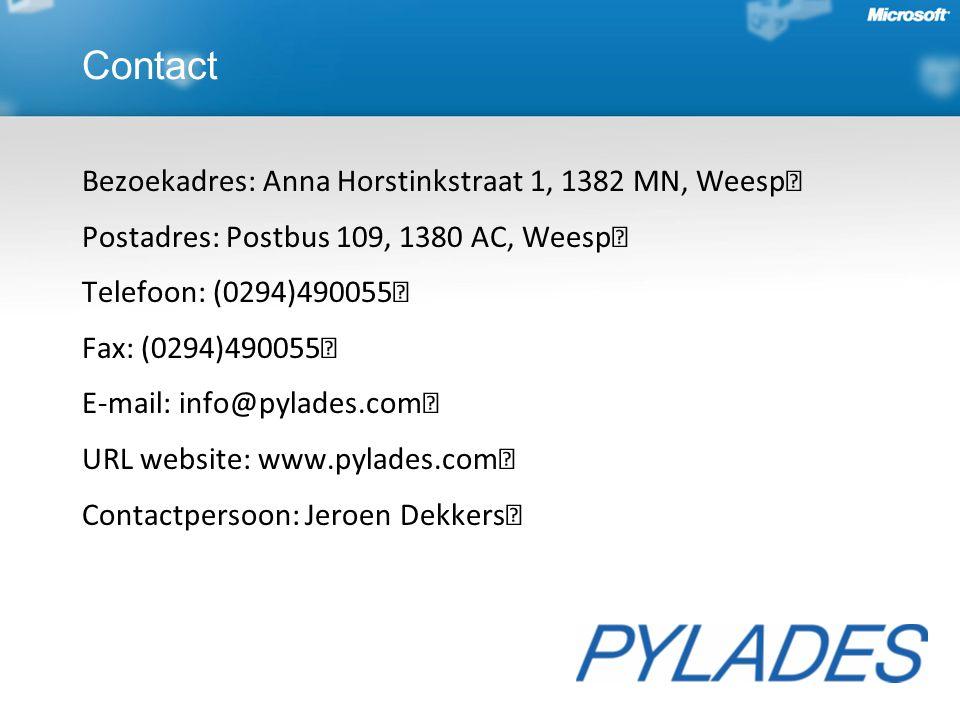 Bezoekadres: Anna Horstinkstraat 1, 1382 MN, Weesp Postadres: Postbus 109, 1380 AC, Weesp Telefoon: (0294)490055 Fax: (0294)490055 E-mail: info@pylades.com URL website: www.pylades.com Contactpersoon: Jeroen Dekkers Contact