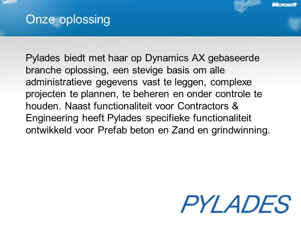 Onze oplossing Pylades biedt met haar op Dynamics AX gebaseerde branche oplossing, een stevige basis om alle administratieve gegevens vast te leggen, complexe projecten te plannen, te beheren en onder controle te houden.