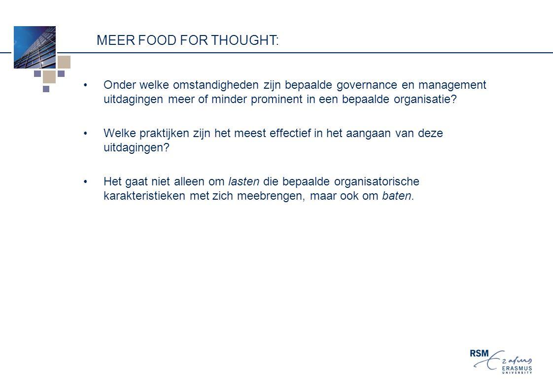 MEER FOOD FOR THOUGHT: Onder welke omstandigheden zijn bepaalde governance en management uitdagingen meer of minder prominent in een bepaalde organisatie.