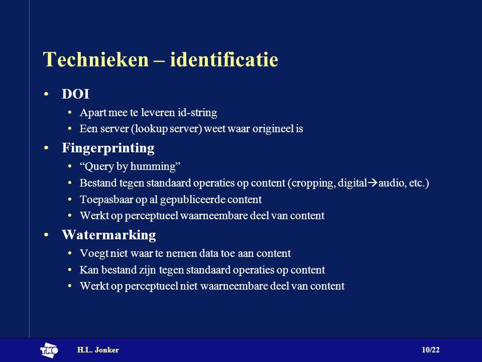 """H.L. Jonker10/22 Technieken – identificatie DOI Apart mee te leveren id-string Een server (lookup server) weet waar origineel is Fingerprinting """"Query"""