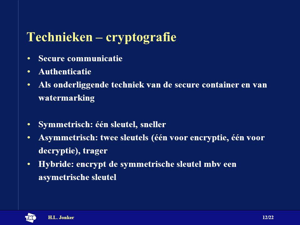 H.L. Jonker12/22 Technieken – cryptografie Secure communicatie Authenticatie Als onderliggende techniek van de secure container en van watermarking Sy