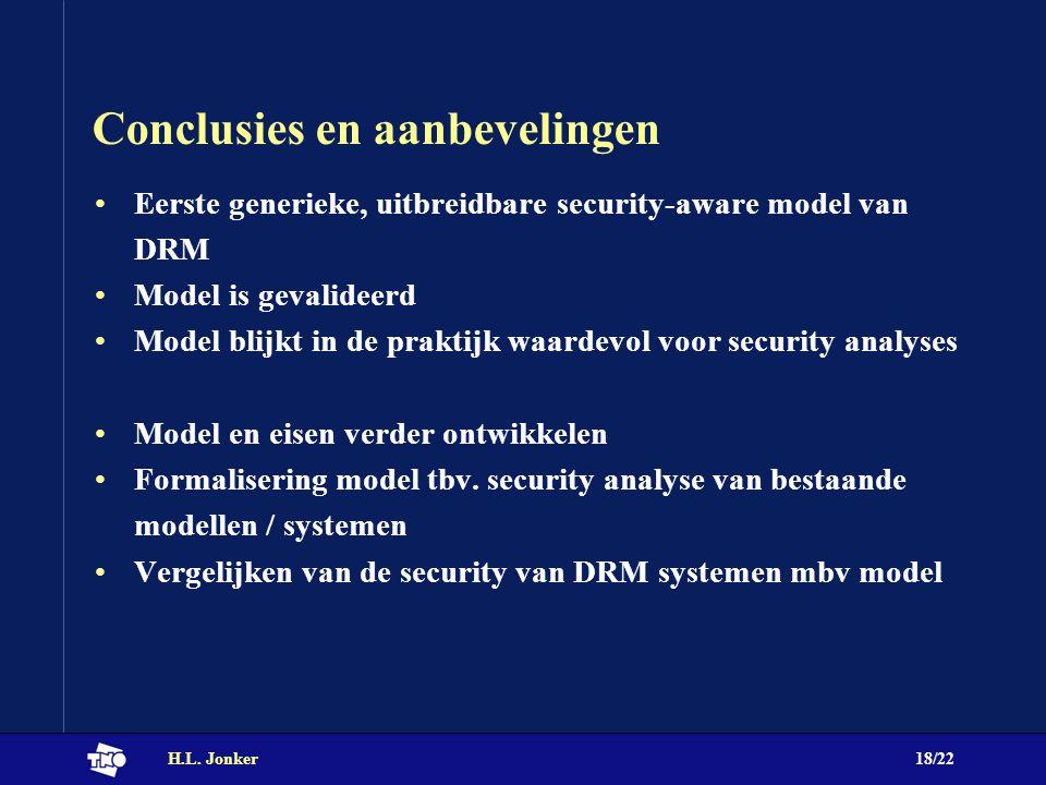 H.L. Jonker18/22 Conclusies en aanbevelingen Eerste generieke, uitbreidbare security-aware model van DRM Model is gevalideerd Model blijkt in de prakt