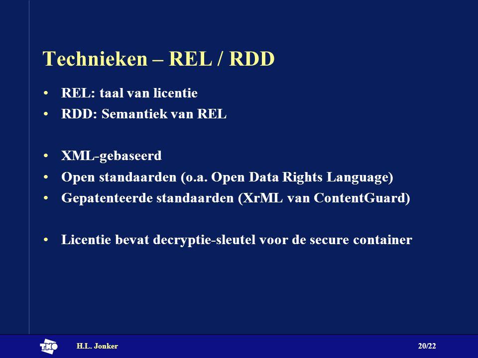H.L. Jonker20/22 Technieken – REL / RDD REL: taal van licentie RDD: Semantiek van REL XML-gebaseerd Open standaarden (o.a. Open Data Rights Language)