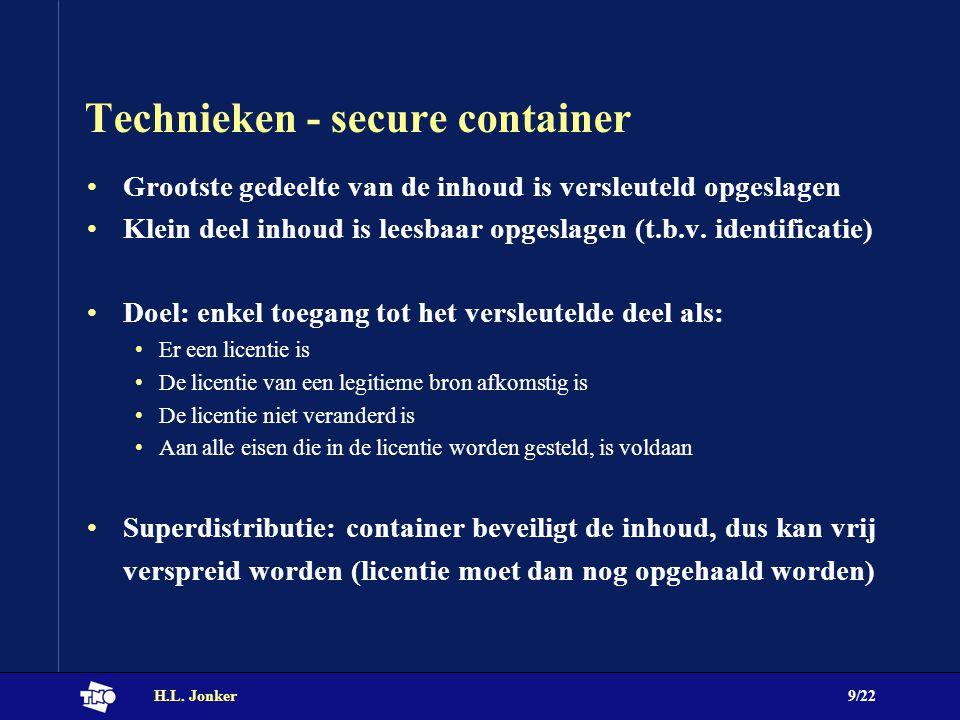 H.L. Jonker9/22 Technieken - secure container Grootste gedeelte van de inhoud is versleuteld opgeslagen Klein deel inhoud is leesbaar opgeslagen (t.b.