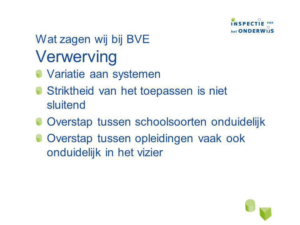 Wat zagen wij bij BVE Verwerving Variatie aan systemen Striktheid van het toepassen is niet sluitend Overstap tussen schoolsoorten onduidelijk Overstap tussen opleidingen vaak ook onduidelijk in het vizier