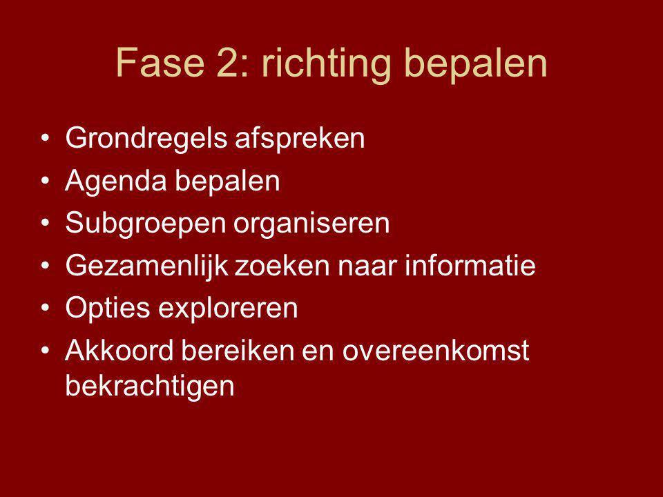 Fase 2: richting bepalen Grondregels afspreken Agenda bepalen Subgroepen organiseren Gezamenlijk zoeken naar informatie Opties exploreren Akkoord bereiken en overeenkomst bekrachtigen