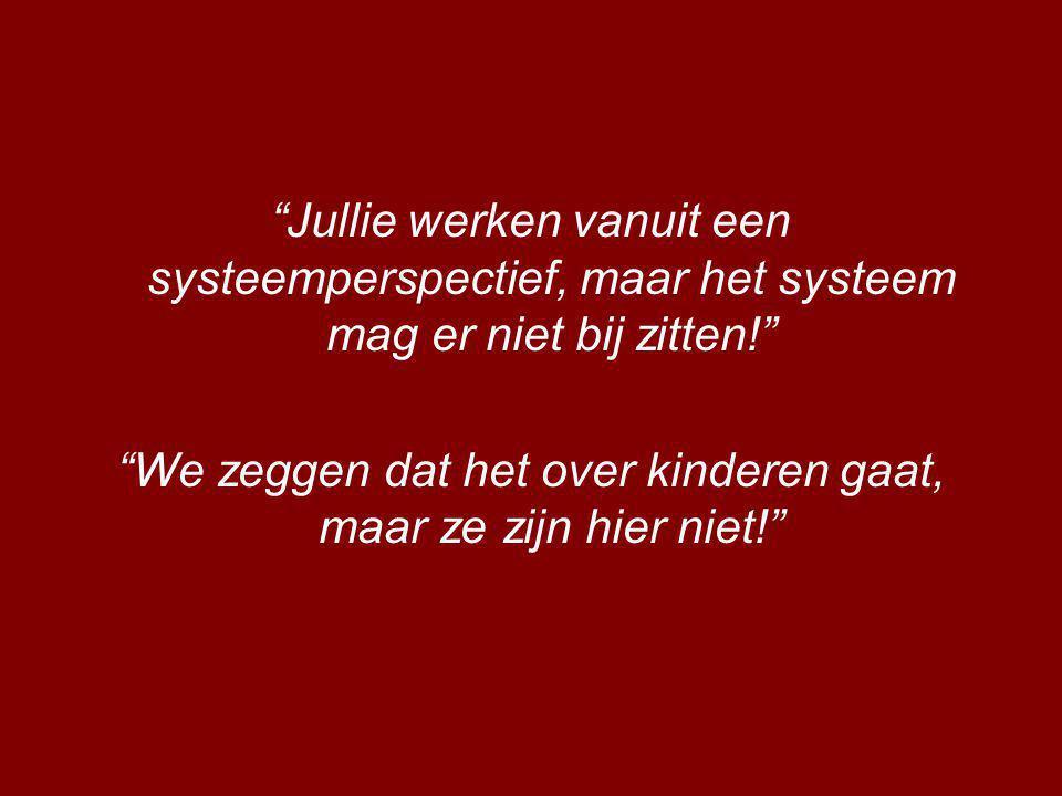 Jullie werken vanuit een systeemperspectief, maar het systeem mag er niet bij zitten! We zeggen dat het over kinderen gaat, maar ze zijn hier niet!
