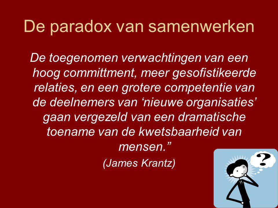 De paradox van samenwerken De toegenomen verwachtingen van een hoog committment, meer gesofistikeerde relaties, en een grotere competentie van de deelnemers van 'nieuwe organisaties' gaan vergezeld van een dramatische toename van de kwetsbaarheid van mensen. (James Krantz)