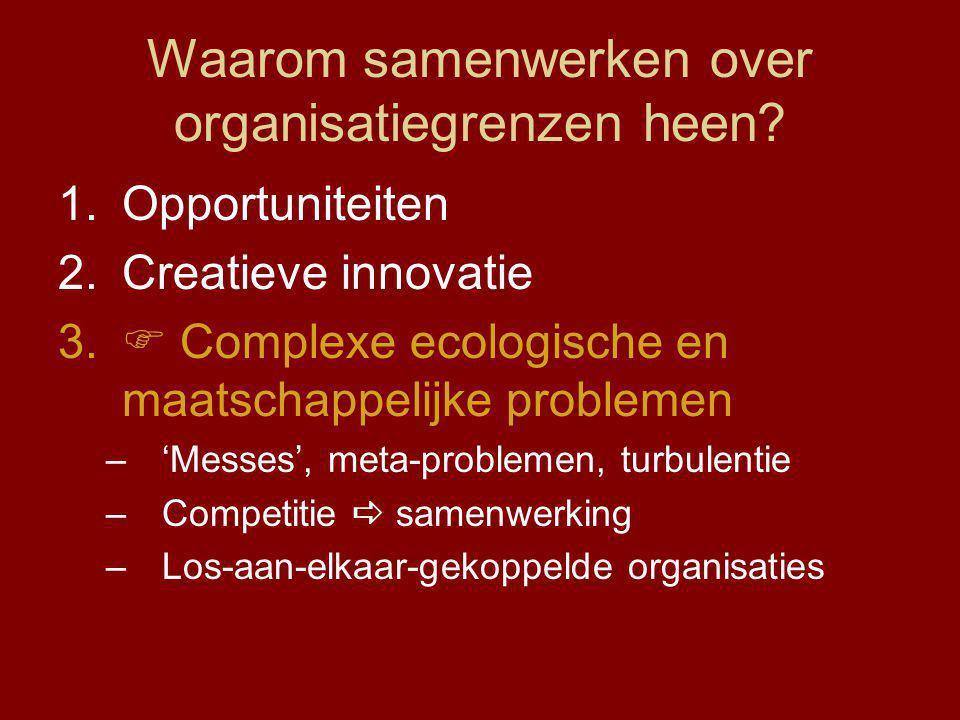Waarom samenwerken over organisatiegrenzen heen.1.Opportuniteiten 2.Creatieve innovatie 3.