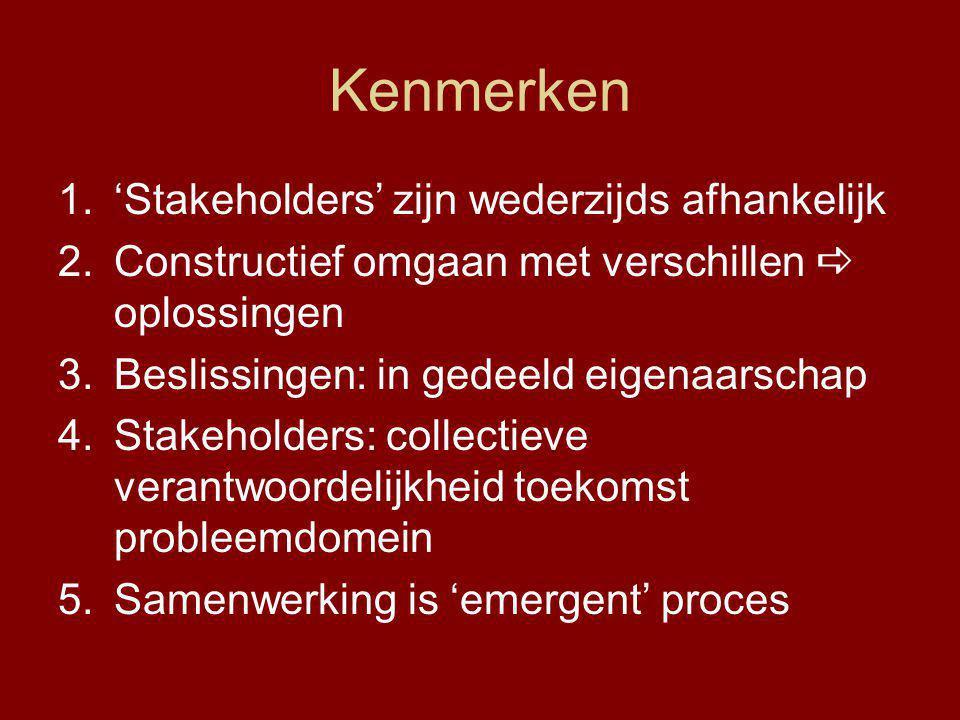 Kenmerken 1.'Stakeholders' zijn wederzijds afhankelijk 2.Constructief omgaan met verschillen  oplossingen 3.Beslissingen: in gedeeld eigenaarschap 4.Stakeholders: collectieve verantwoordelijkheid toekomst probleemdomein 5.Samenwerking is 'emergent' proces
