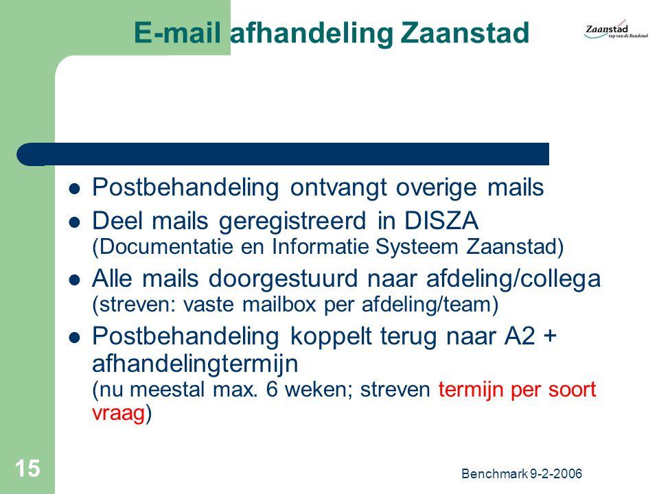 Benchmark 9-2-2006 15 E-mail afhandeling Zaanstad Postbehandeling ontvangt overige mails Deel mails geregistreerd in DISZA (Documentatie en Informatie Systeem Zaanstad) Alle mails doorgestuurd naar afdeling/collega (streven: vaste mailbox per afdeling/team) Postbehandeling koppelt terug naar A2 + afhandelingtermijn (nu meestal max.