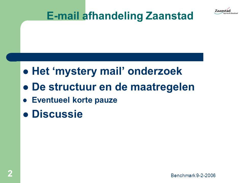 Benchmark 9-2-2006 2 E-mail afhandeling Zaanstad Het 'mystery mail' onderzoek De structuur en de maatregelen Eventueel korte pauze Discussie