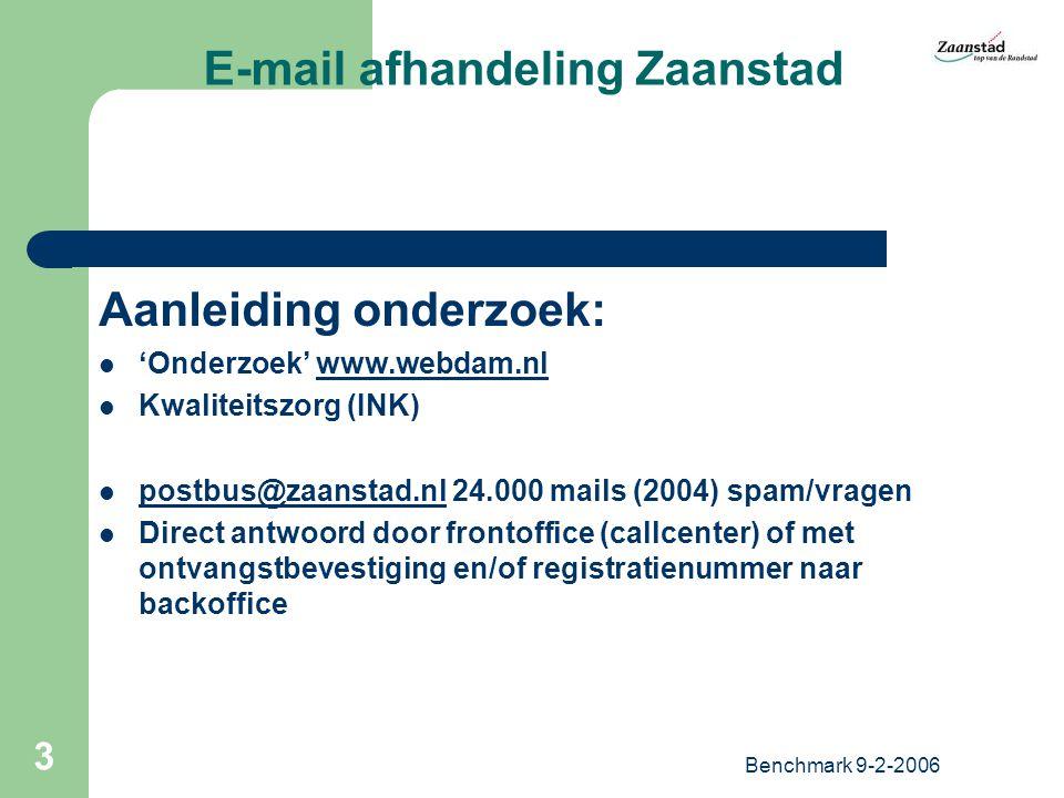 Benchmark 9-2-2006 4 E-mail afhandeling Zaanstad Opzet Onderzoek 100 vragen door 10 medewerkers met meerdere aliassen Vragen representatief voor aanbod van OZB tot burgemeester Onderzoek 'aangekondigd' – start na enige weken en aanbod gespreid Geen extra werklast (maar pas op..!) Beantwoord.