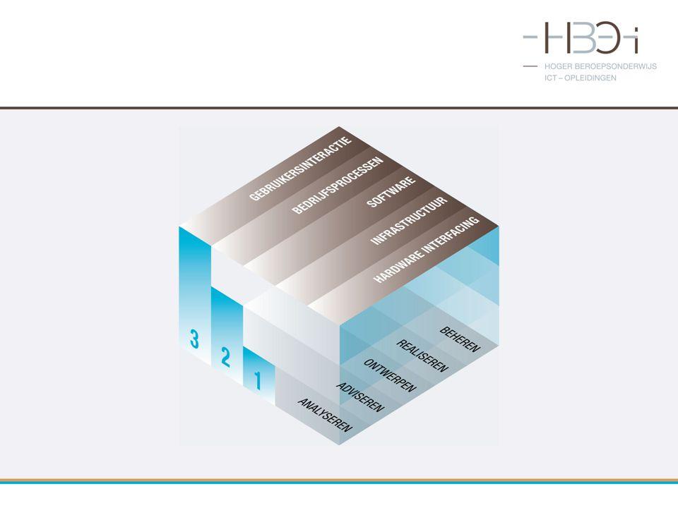 AnalyserenAdviserenOntwerpenRealiserenBeheren Gebruikers interactie 11 Bedrijfs processen 33333 Software 12211 Infrastructuur 33213 Hardware interfacing