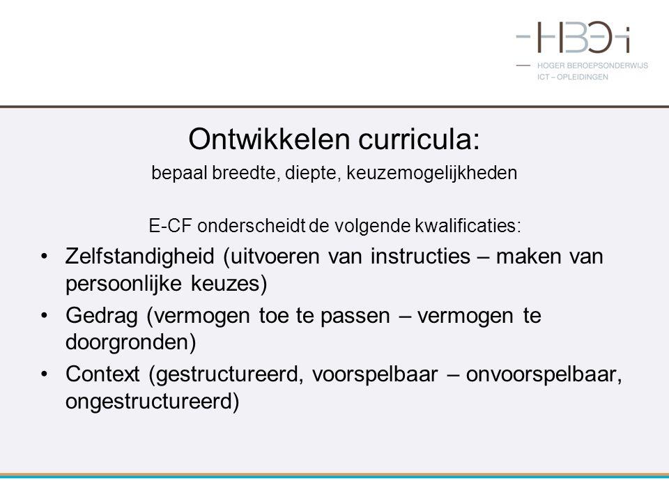 Ontwikkelen curricula: bepaal breedte, diepte, keuzemogelijkheden E-CF onderscheidt de volgende kwalificaties: Zelfstandigheid (uitvoeren van instruct