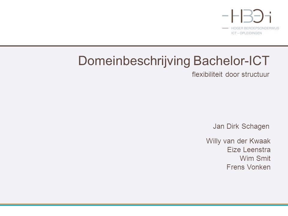 Domeinbeschrijving Bachelor-ICT flexibiliteit door structuur Jan Dirk Schagen Willy van der Kwaak Eize Leenstra Wim Smit Frens Vonken