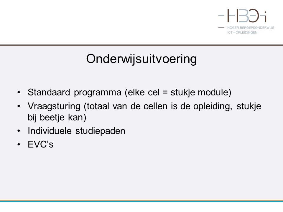 Onderwijsuitvoering Standaard programma (elke cel = stukje module) Vraagsturing (totaal van de cellen is de opleiding, stukje bij beetje kan) Individu