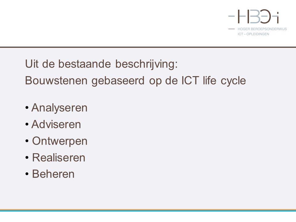 Uit de bestaande beschrijving: Bouwstenen gebaseerd op de ICT life cycle Analyseren Adviseren Ontwerpen Realiseren Beheren
