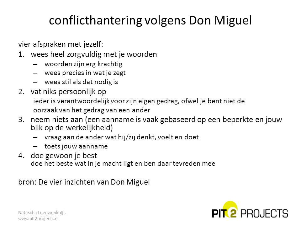 Natascha Leeuwenkuijl, www.pit2projects.nl conflicthantering volgens Don Miguel vier afspraken met jezelf: 1.wees heel zorgvuldig met je woorden – woo