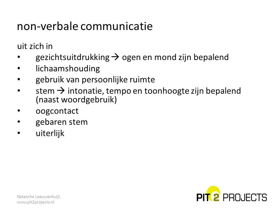 Natascha Leeuwenkuijl, www.pit2projects.nl niveaus van communicatie inhoud – 'ik wil graag meer weten …' – 'als ik goed samenvat …' procedure – 'ik stel voor dat we eerst … en dan …' – 'voordat we een besluit nemen …' interactie – 'je onderbreekt me steeds …' – 'iedere keer als we met elkaar praten …' gevoel – 'ik merk dat je geïrriteerd raakt …' – 'steeds als we een afspraak hebben, ben ik …'