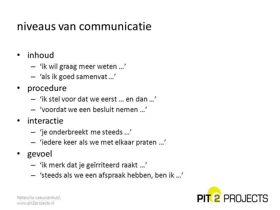 Natascha Leeuwenkuijl, www.pit2projects.nl niveaus van communicatie inhoud – 'ik wil graag meer weten …' – 'als ik goed samenvat …' procedure – 'ik st