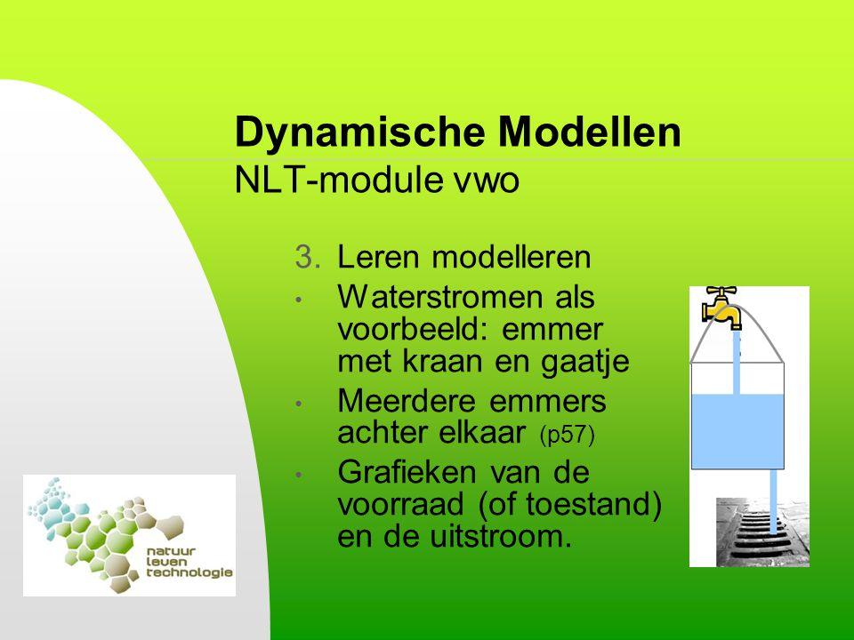Dynamische Modellen NLT-module vwo 3.Leren modelleren Waterstromen als voorbeeld: emmer met kraan en gaatje Meerdere emmers achter elkaar (p57) Grafie