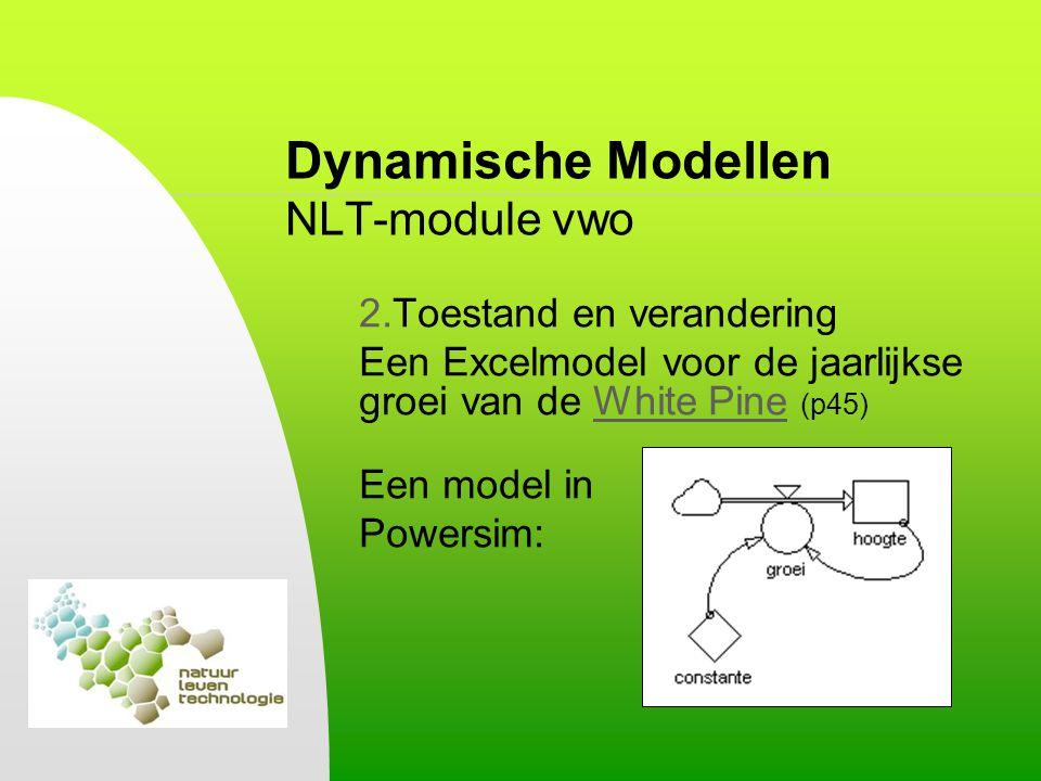 Dynamische Modellen NLT-module vwo 2.Toestand en verandering Een Excelmodel voor de jaarlijkse groei van de White Pine (p45)White Pine Een model in Po