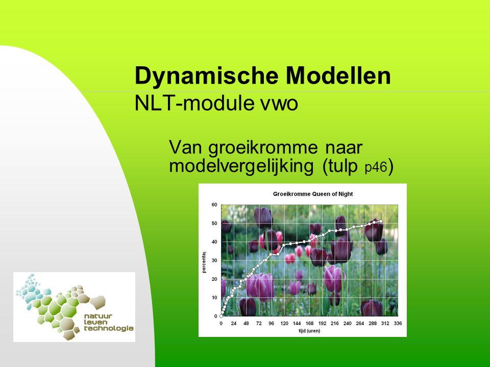 Dynamische Modellen NLT-module vwo 3.Leren modelleren Waterstromen als voorbeeld: emmer met kraan en gaatje Meerdere emmers achter elkaar (p57) Grafieken van de voorraad (of toestand) en de uitstroom.