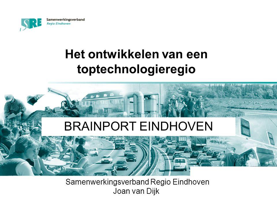 Regio Eindhoven = Brainport Als tegenhanger en aanvulling op de twee nationale mainports Brainport verwijst naar het kennisintensieve karakter van de aanwezige bedrijvigheid Nr.1 in Nederland in R&D Nr.4 European scoreboard van innovatieve regio's 45% van alle private besteding in R&D 43% van alle patent- aanvragen in Nederland Nr.1 in EU in verhouding patenten/beroepsbevolking 30% industriële werkgelegenheid … Nr.1 in Nederland in R&D Nr.4 European scoreboard van innovatieve regio's 45% van alle private besteding in R&D 43% van alle patent- aanvragen in Nederland Nr.1 in EU in verhouding patenten/beroepsbevolking 30% industriële werkgelegenheid …